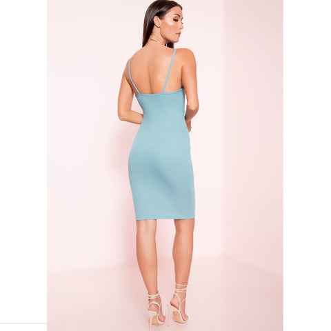 Ribbed Open Front Midi Dress