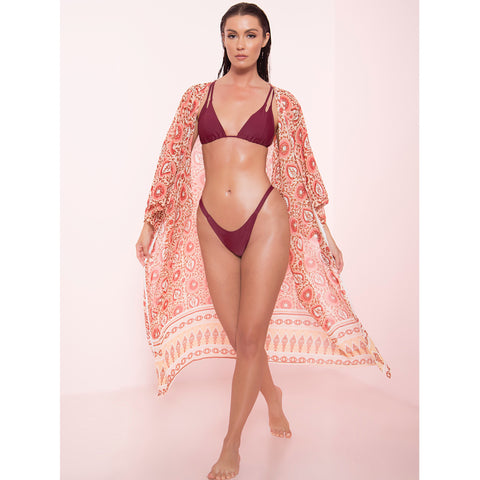 Printed Sheer Beach Cover-Up