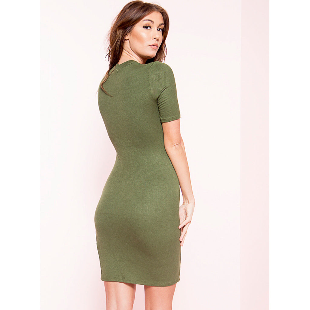 Olive Ribbed Split Mock Neck Midi