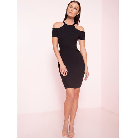 Ribbed Open Shoulder Mini Dress