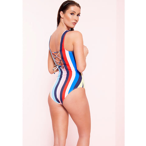 Striped Laced Back Monokini