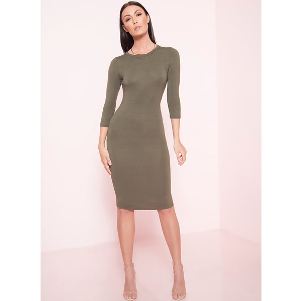 Quarter Sleeve Midi Dress