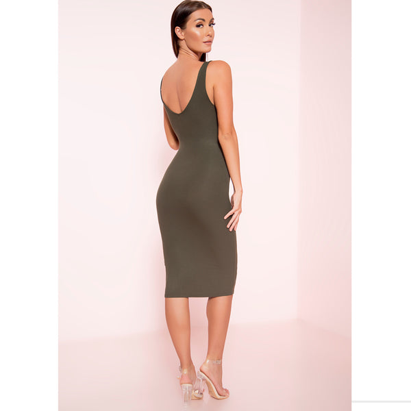 Olive Ribbed Zipper Midi Dress