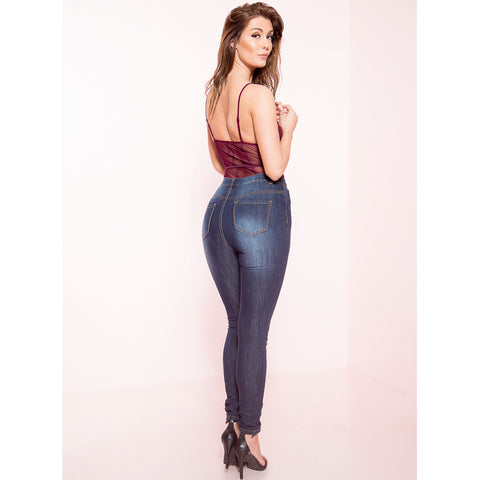 Open Knee High Waist Denim Skinnies