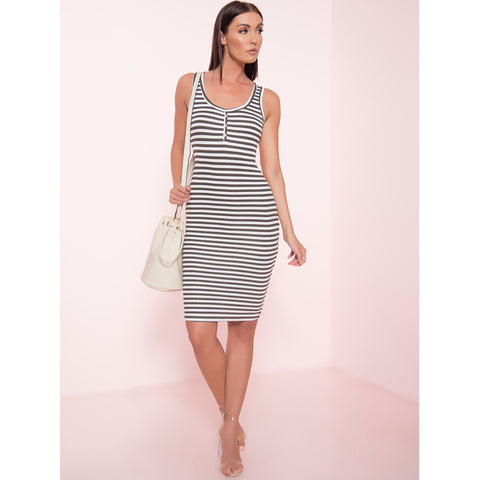Striped Ribbed Midi Dress