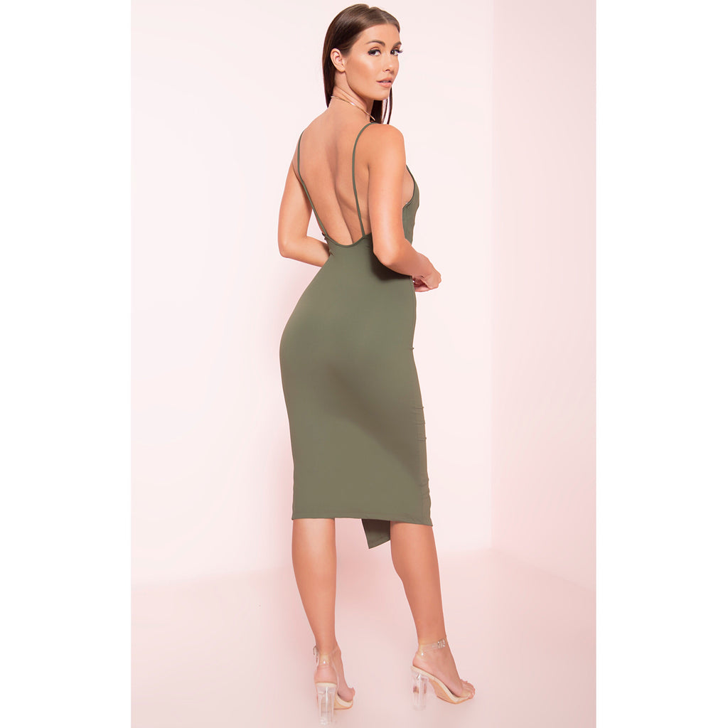 Thin Strap Split Midi Dress