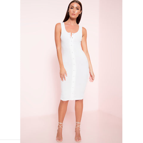Snap Front Ribbed Midi Dress