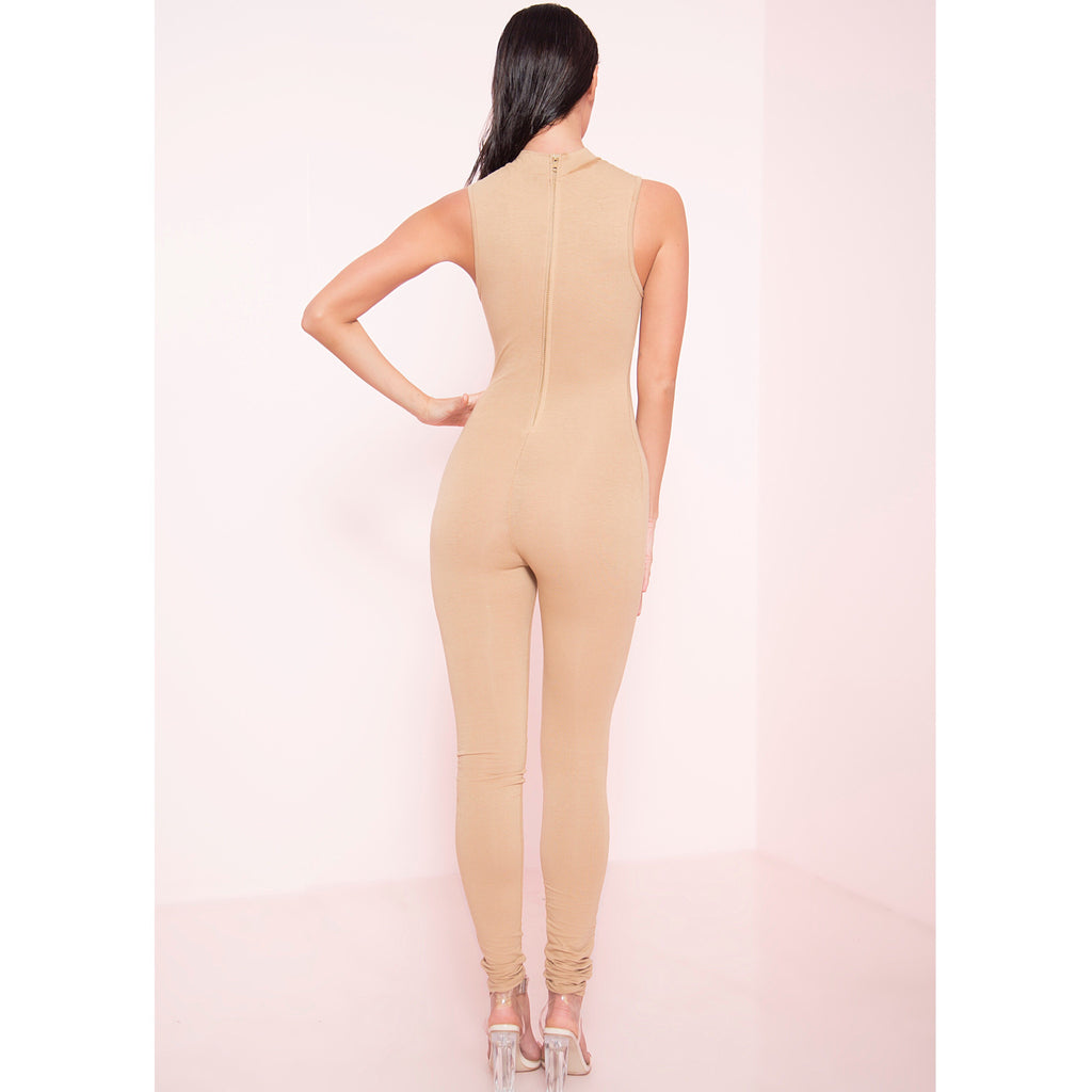 Mock Neck Zipper Back Jumpsuit (More Colors)
