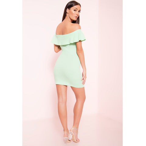 Ribbed Ruffle Dress
