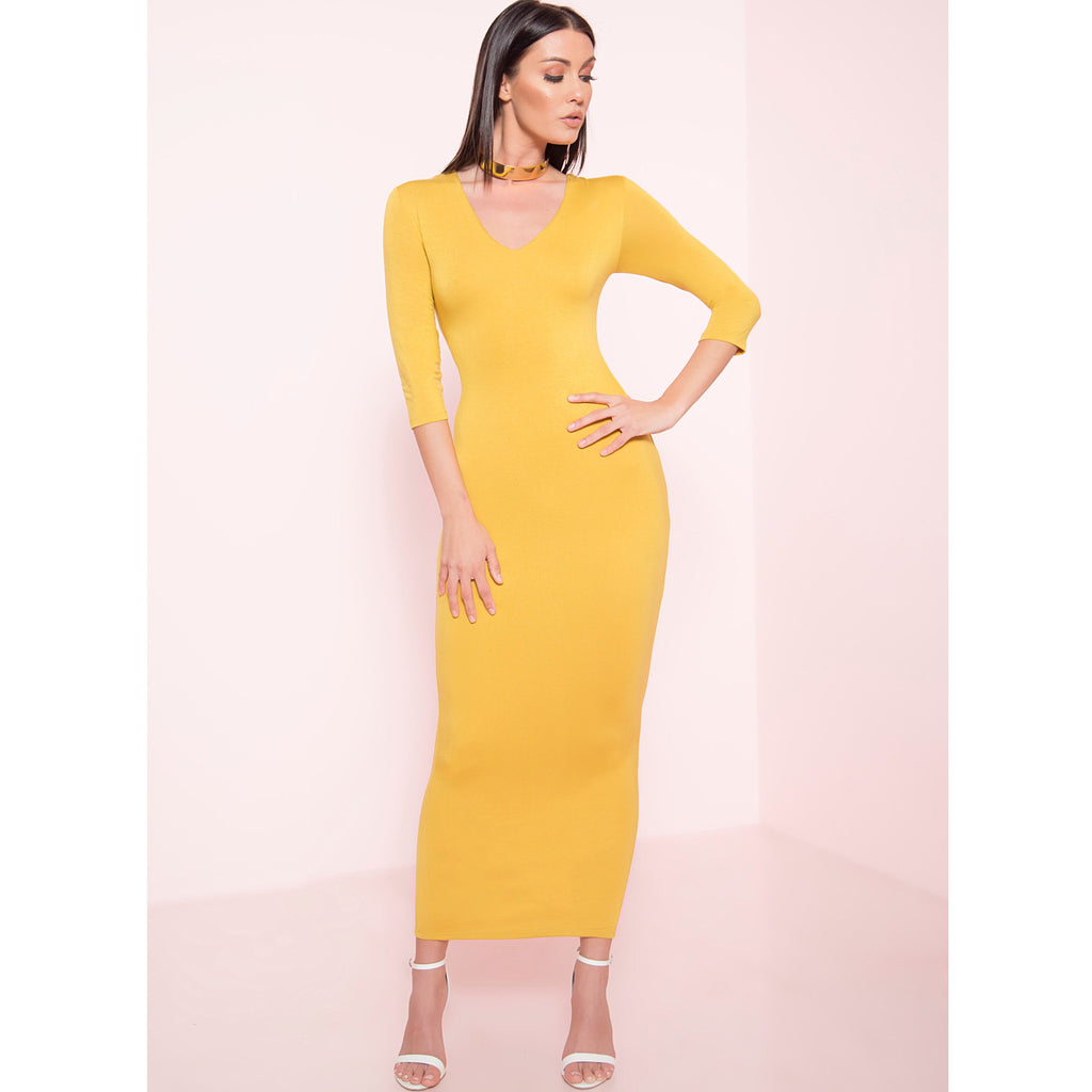 Mustard Maxi Bodycon Dress