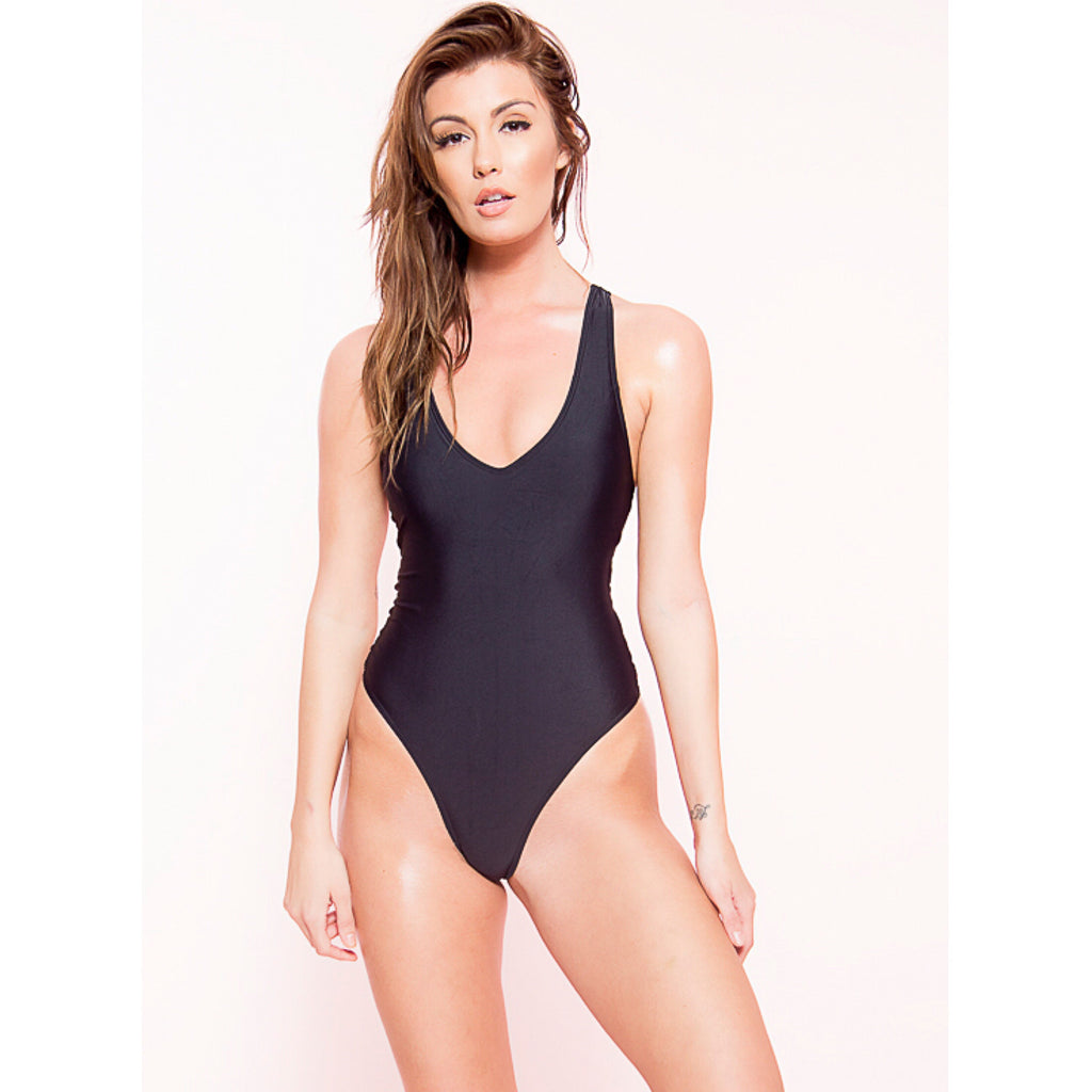 Strappy Back Black Monokini