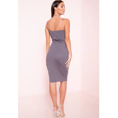 Charcoal Dip Neck Midi Dress