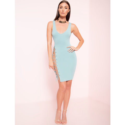 Side Lace Midi Dress