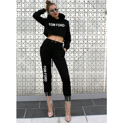 Labels Cropped Hoodie Jogger Set