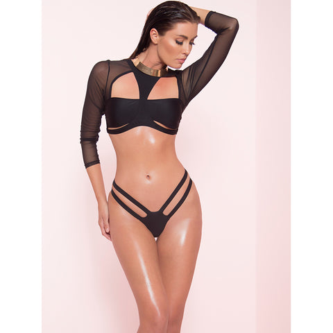 Black Mesh Cut Out Bikini