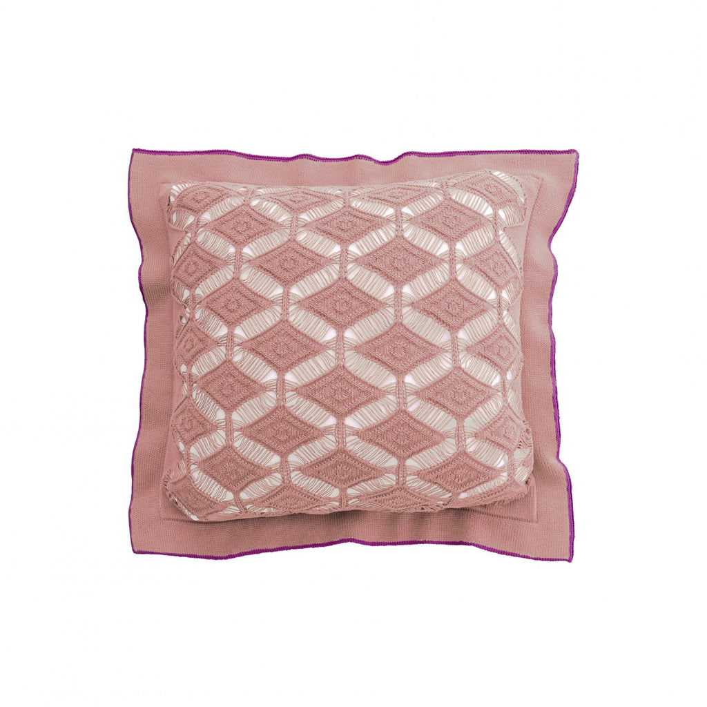 Cushion Diamond Lace in Cotton - Old Rose Pink and Wine - Knits - Sans Tabù