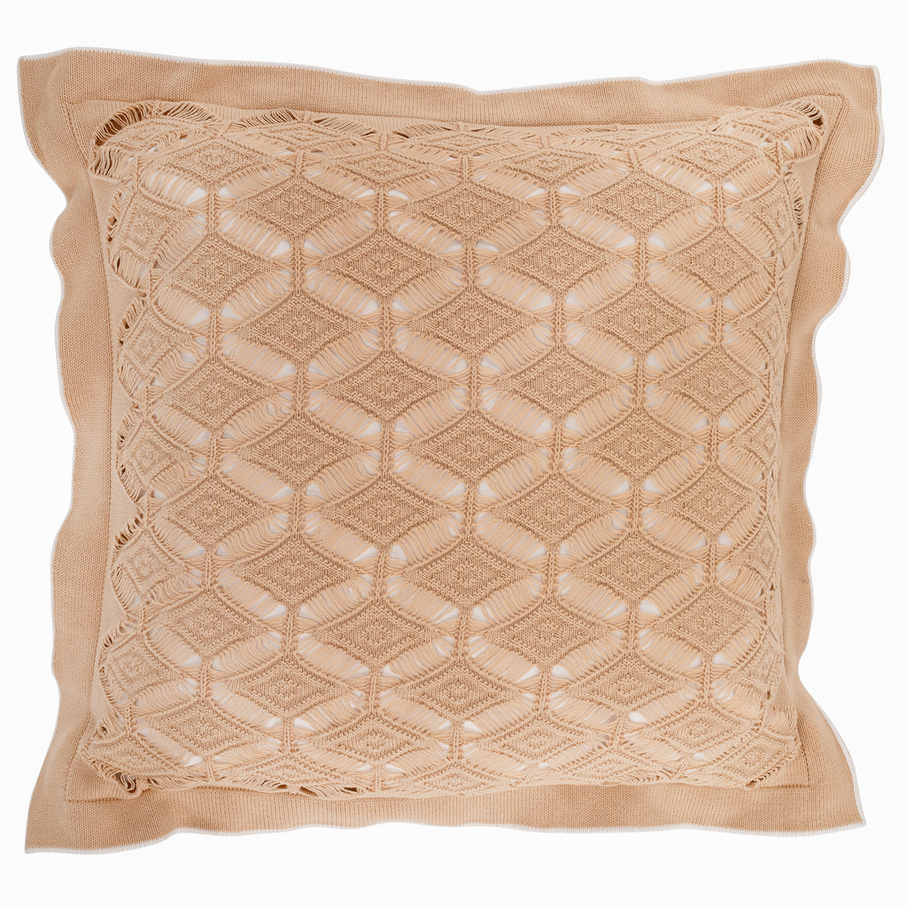 Cushion Large Diamond Lace in Cotton - Rope and White - Knits - Sans Tabù