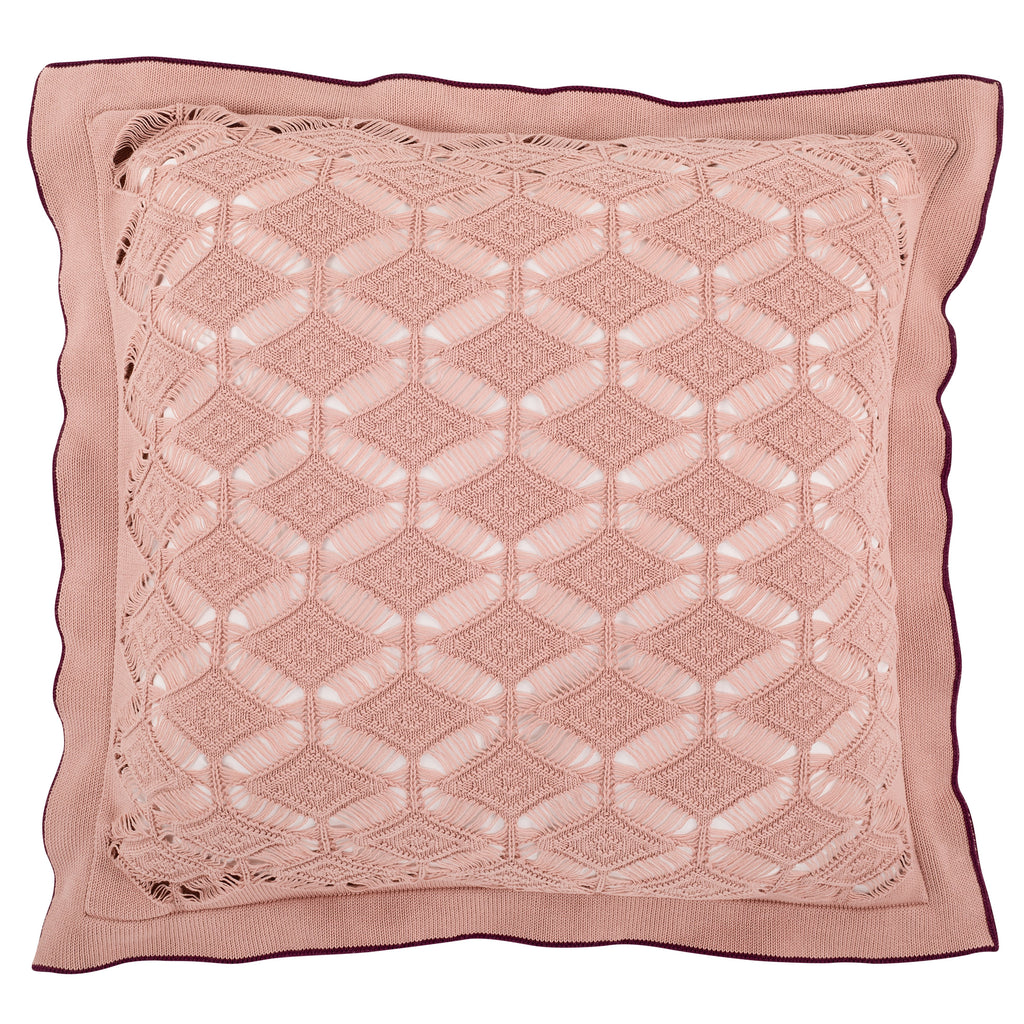 Cushion Large Diamond Lace in Cotton - Old Rose Pink and Wine - Knits - Sans Tabù