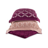 Cushion Large Diamond Lace in Cotton - Wine Purple and Old Rose Pink - Knits - Sans Tabù