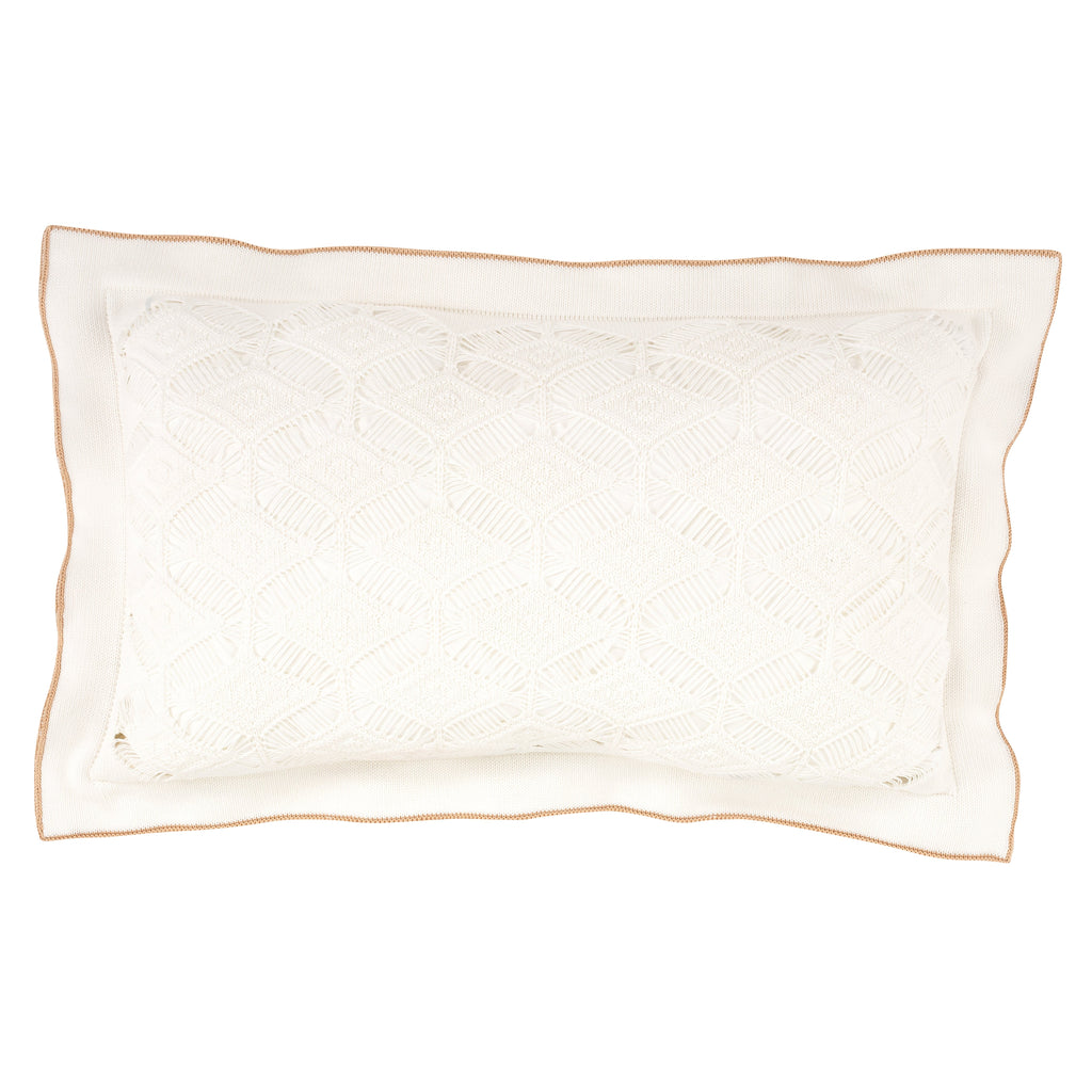 Cushion Rectangular Diamond Lace in Cotton - White and Rope - Knits - Sans Tabù