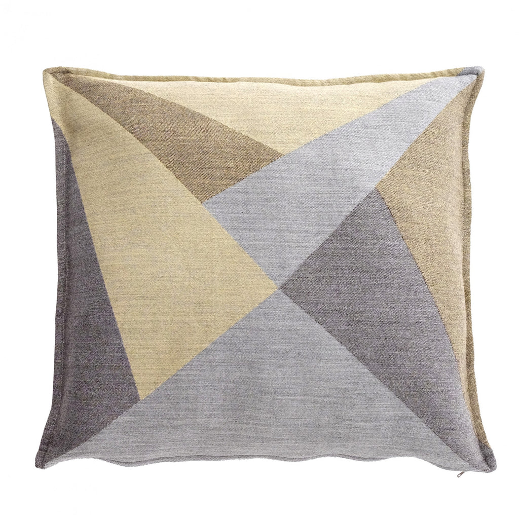 Cushion Policromi by Zanuso Jr in Silk and Wool Jacquard - Baltic Yellow Gray - Policromi - Sans Tabù