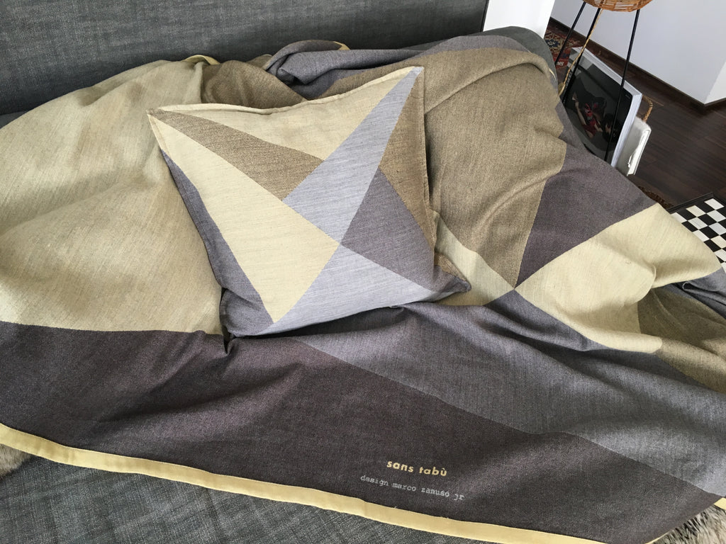 Blanket Policromi by Zanuso Jr in Silk and Wool Jacquard - Baltic Yellow Gray - Policromi - Sans Tabù