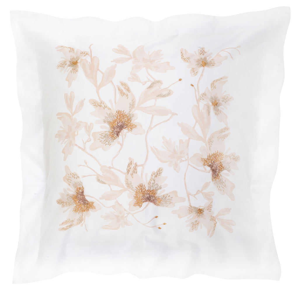 Pillow Peachblossom Large in Cotton Sateen Embroidered Print - White Metallic - Garden Delights - Sans Tabù