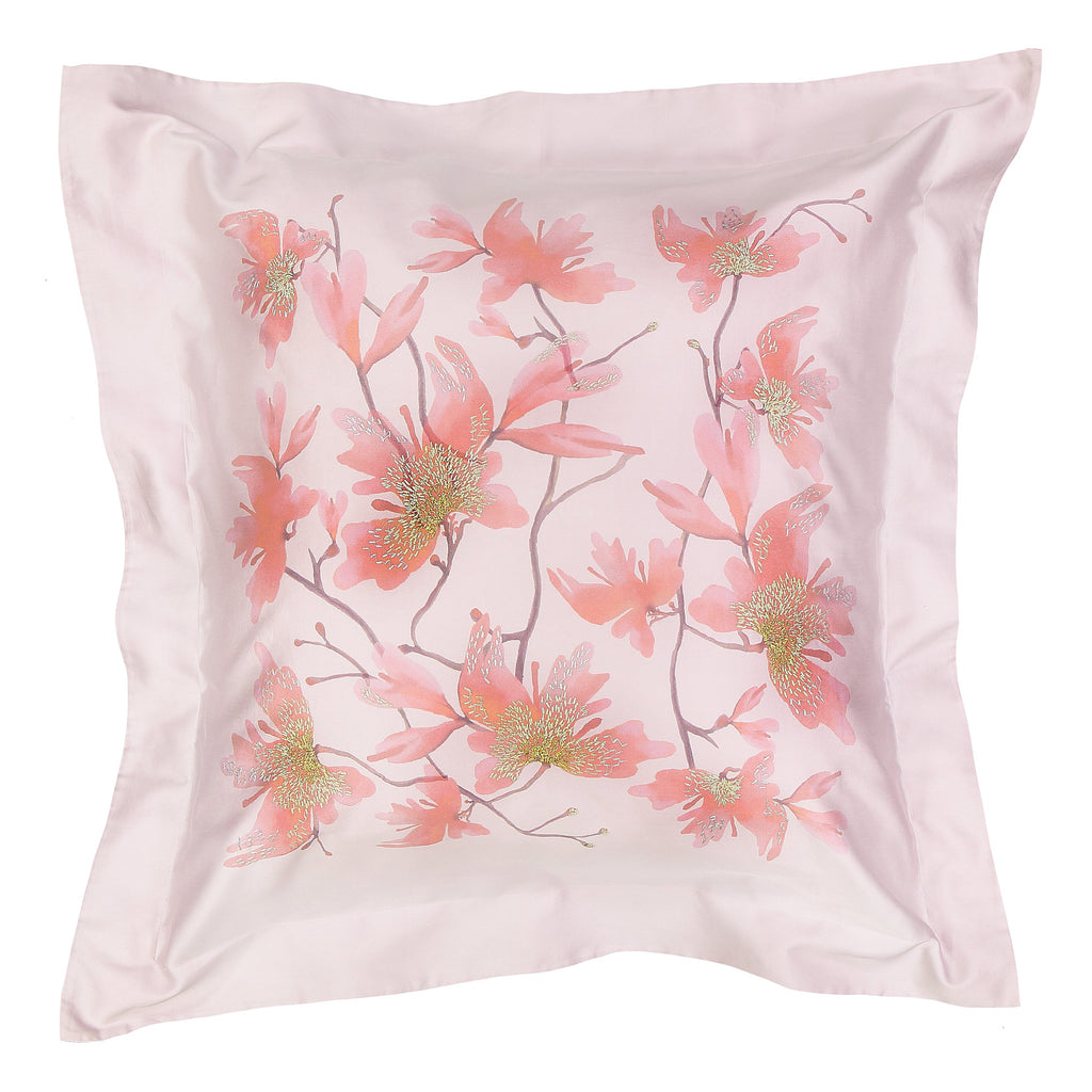 Pillow Peachblossom Large in Cotton Sateen Embroidered Print Wisteria - Violet Metallic - Garden Delights - Sans Tabù