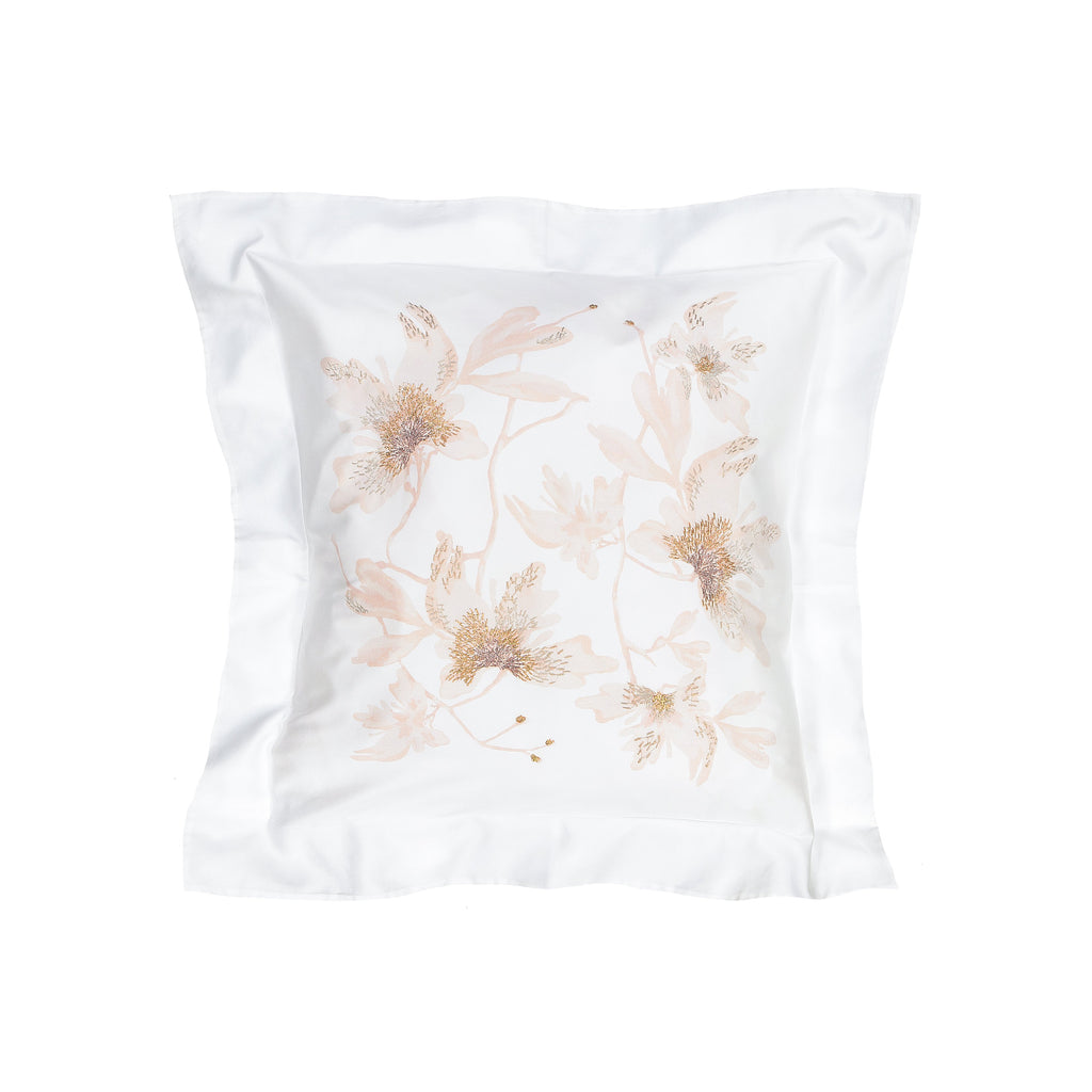 Pillow Peachblossom in Cotton Sateen Embroidered Print - White Metallic - Garden Delights - Sans Tabù