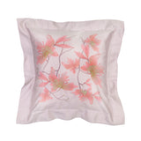 Pillow Peachblossom in Cotton Sateen Embroidered Print Wisteria - Violet Metallic - Garden Delights - Sans Tabù