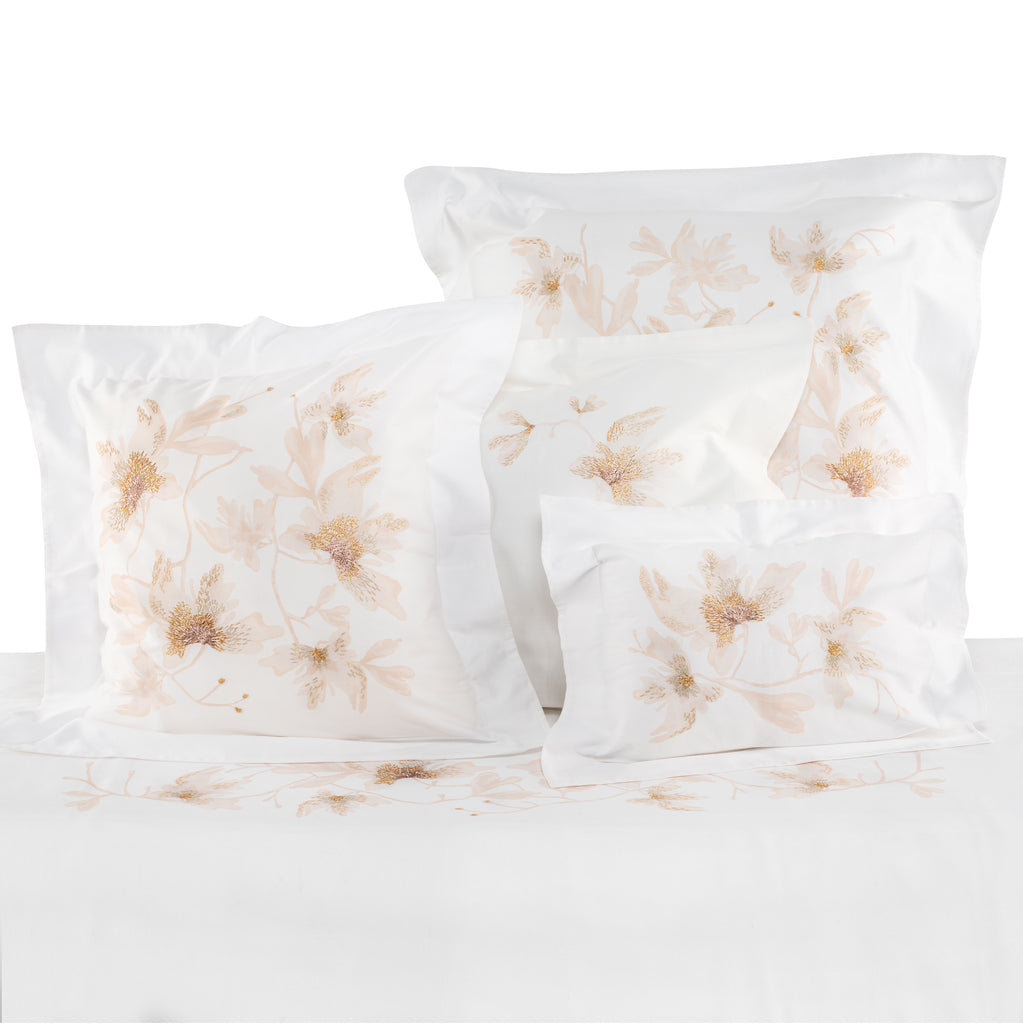 Pillow Peachblossom Boudoir in Cotton Sateen Embroidered Print - White Metallic - Garden Delights - Sans Tabù
