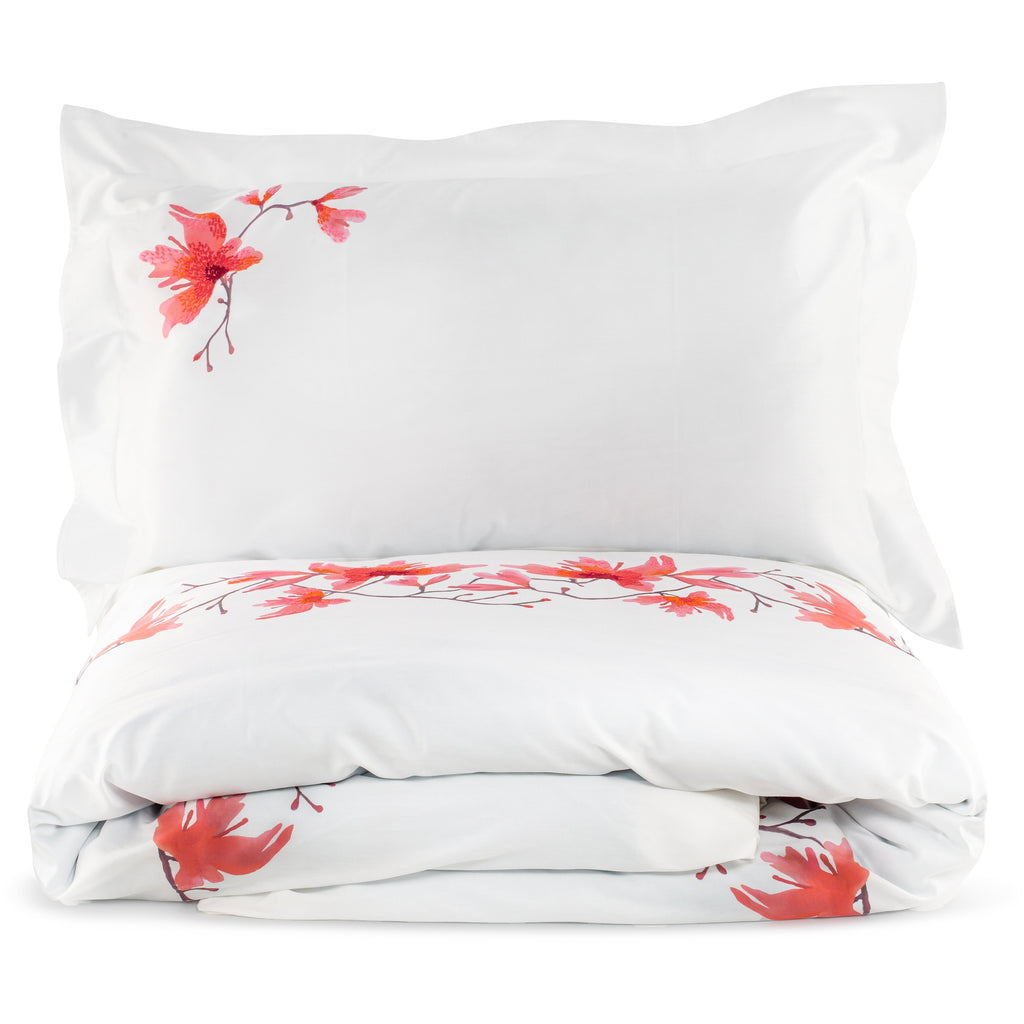 Pillow set of Two Peachblossom in Cotton Sateen Embroidered Print - White Peach - Garden Delights - Sans Tabù