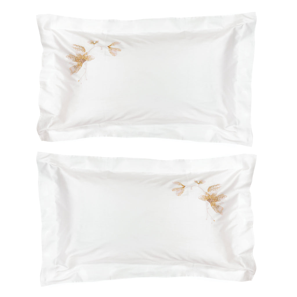 Pillow set of Two Kingsize Peachblossom in Cotton Sateen Embroidered Print - White Metallic - Garden Delights - Sans Tabù