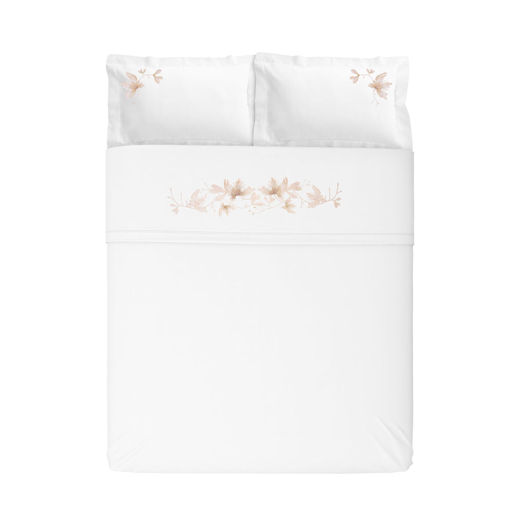 Sheet Set of Four Peachblossom Kingsize Flat in Cotton Sateen Embroidered Print - White Metallic - Garden Delights - Sans Tabù