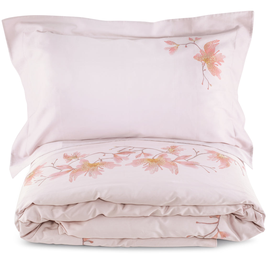 Duvet Set of Four Peachblossom King Fitted Standard in Cotton Sateen Embroidered Print Wisteria - Violet Metallic - Garden Delights - Sans Tabù