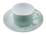 Set of 2 Tea Cup with Saucer - Ø 7,5 x h 5,5 - Sage Green - Mid Century Rhythm - André Fu Living
