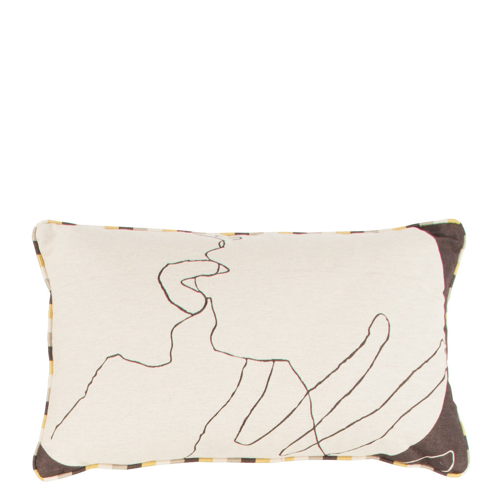 Cushion Kiss in Cotton Jacquard - Sol Yellow - Piping - Sans Tabù