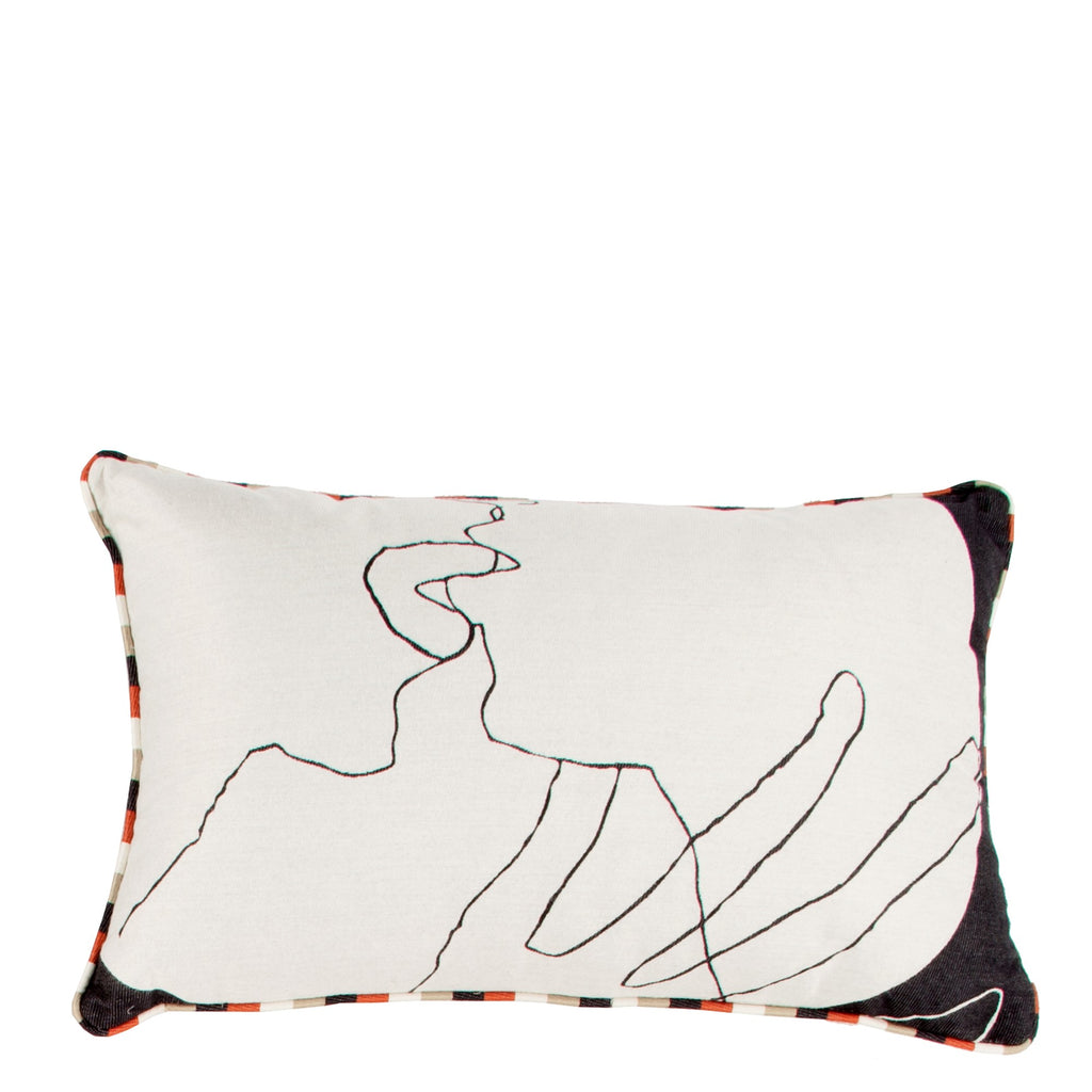 Cushion Kiss in Cotton Jacquard - Crimson Red - Piping - Sans Tabù