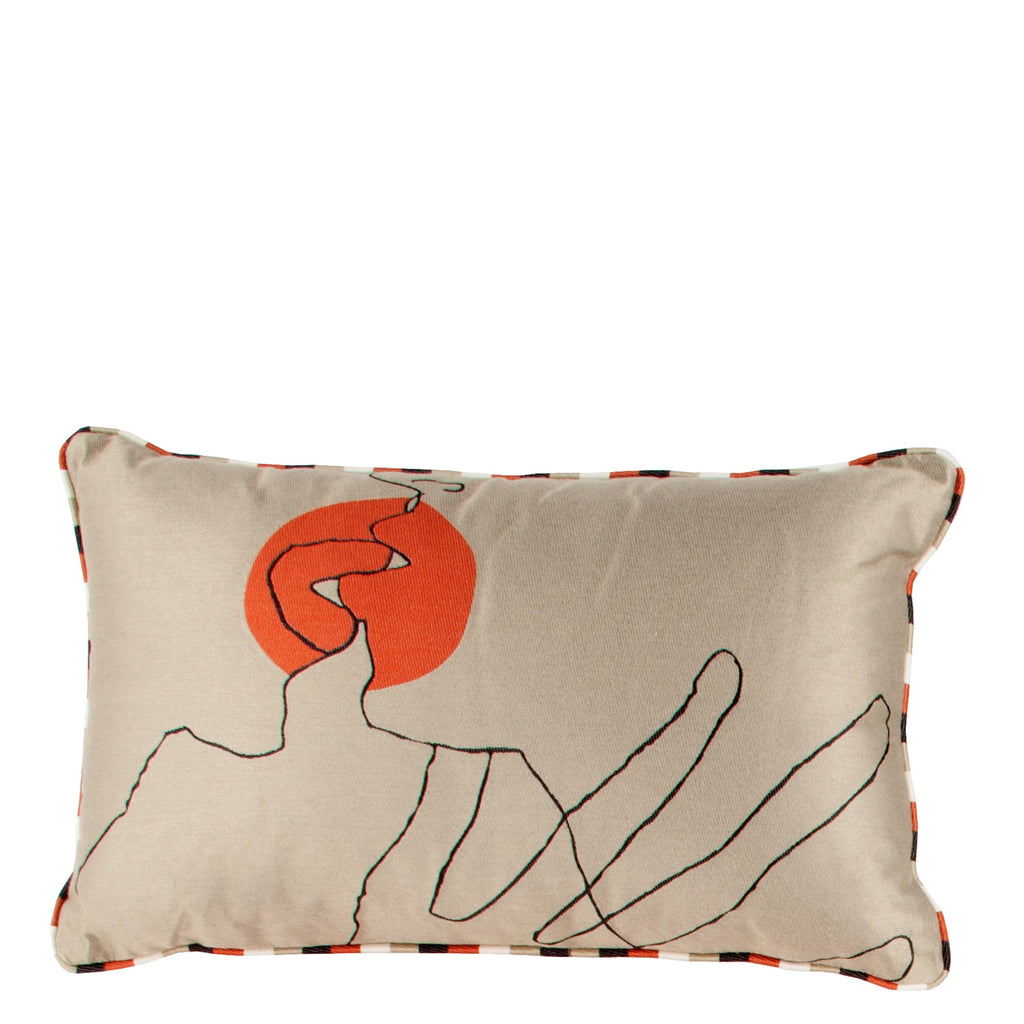 Cushion Kiss in Cotton Jacquard - Crimson Red - Small Circle - Sans Tabù