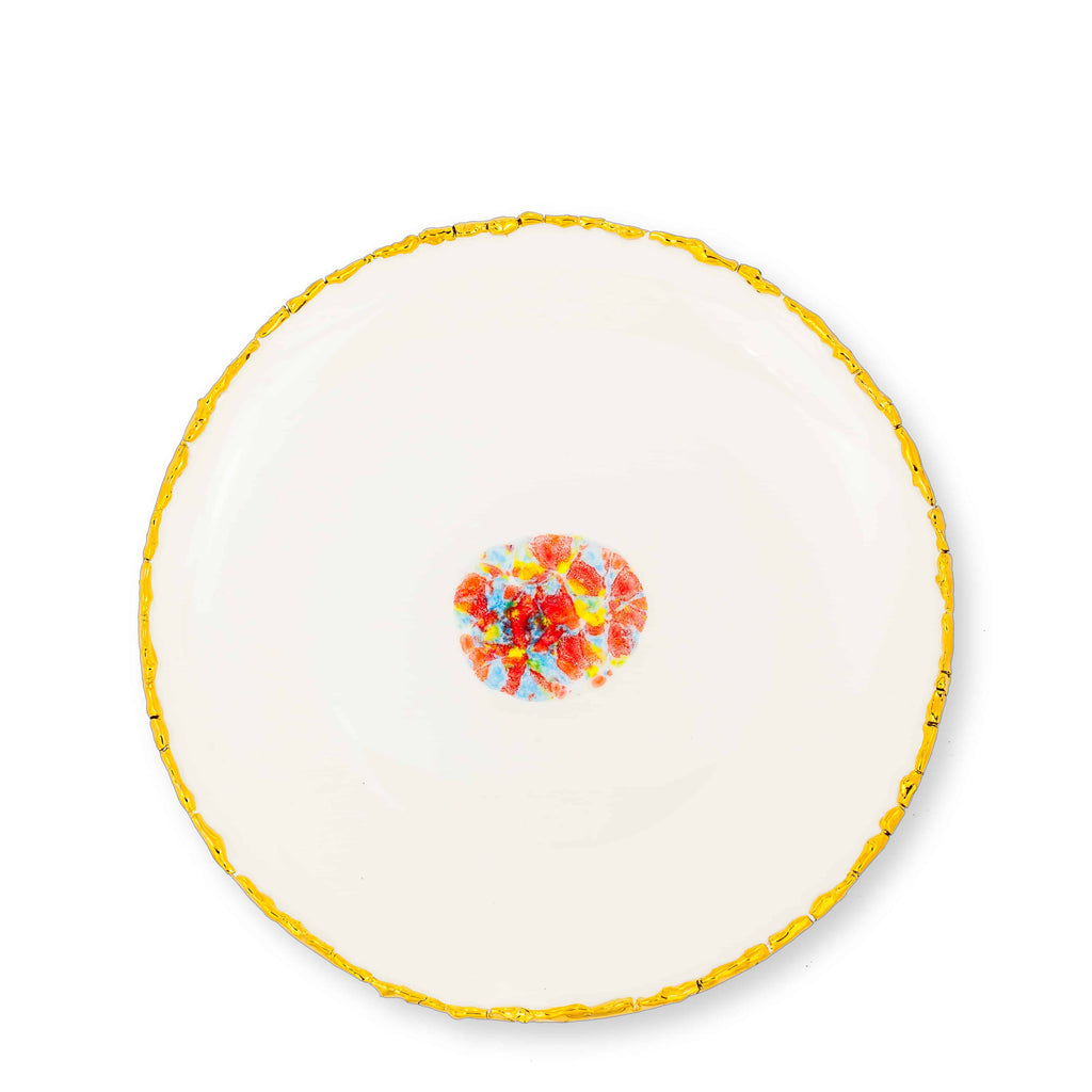 Dinner Coupe Plate Ø27 White Craquelé Edge Confetti Bone China - Piazza del Popolo Series - Coralla Maiuri - Shop Now at Sans Tabù