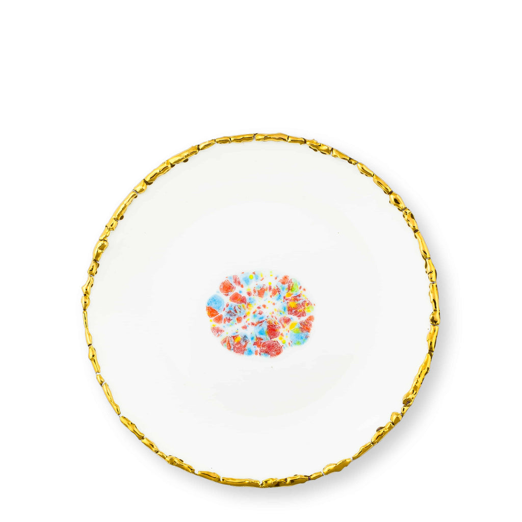Dessert Coupe Plate Ø21 White Craquelé Edge Confetti Bone China - Piazza del Popolo Series - Coralla Maiuri - Shop Now at Sans Tabù