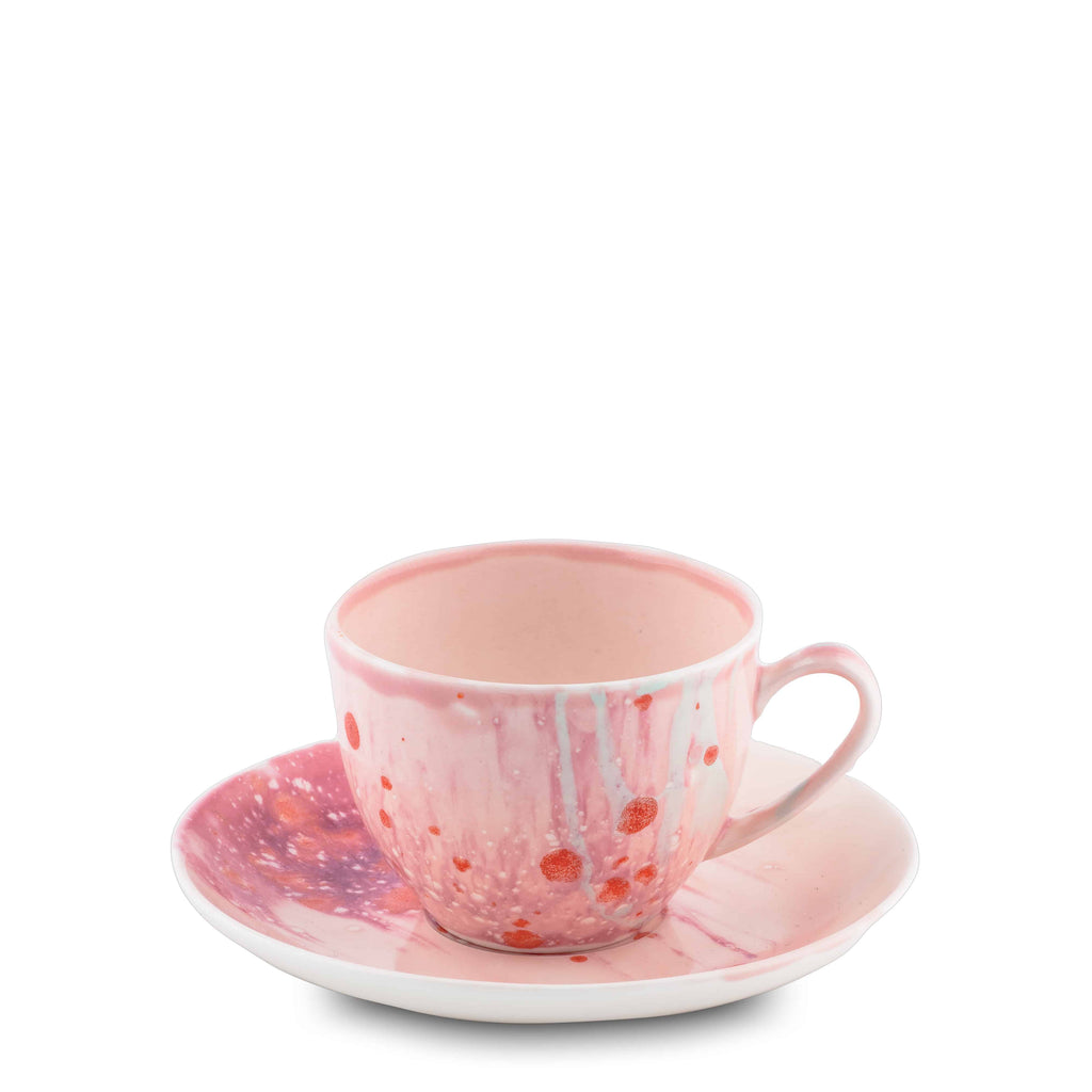 Teacup & Saucer 10cl Berry Bone China - Piazza del Popolo series - Coralla Maiuri - Shop Now at Sans Tabù