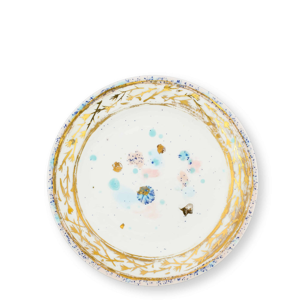 Dessert Plate Ø21 Dafne Gold Bone China - Villa Borghese Series - Coralla Maiuri - Shop Now at Sans Tabù