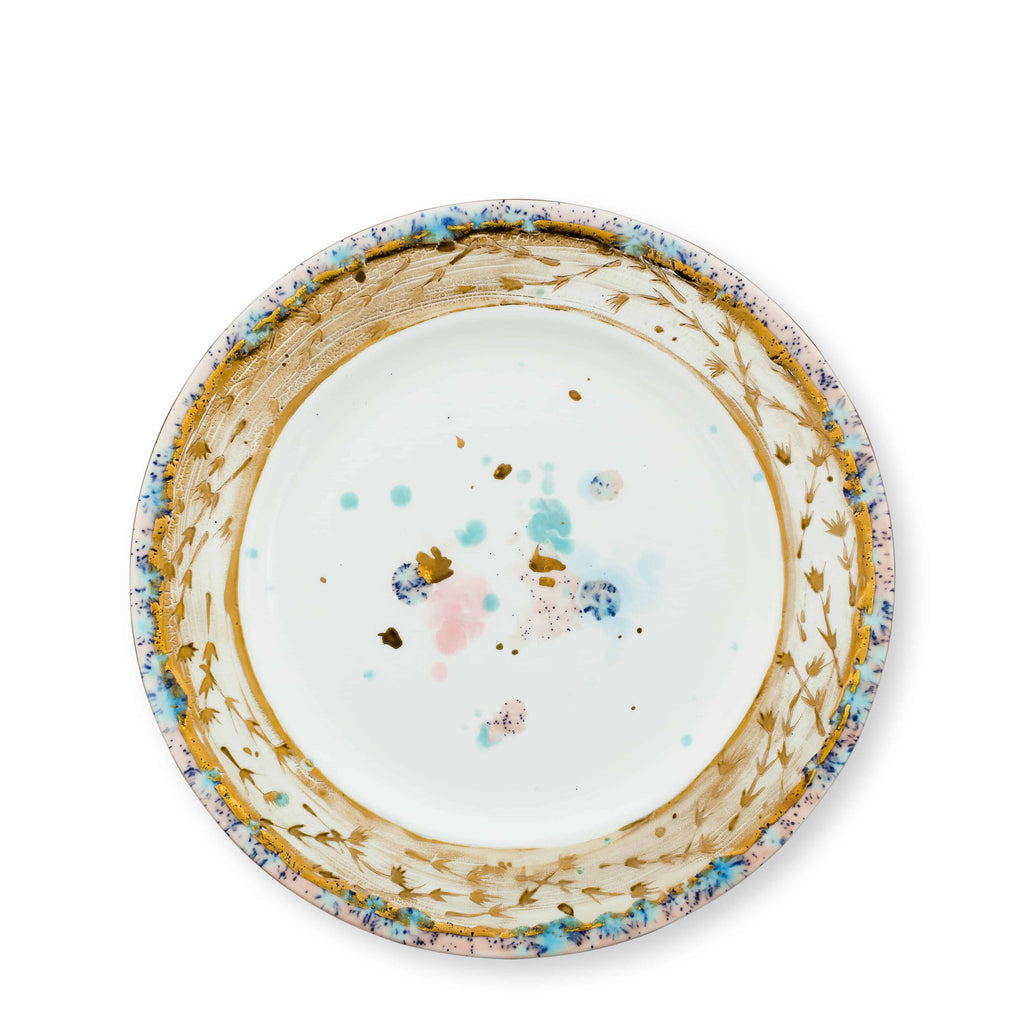 Dinner Plate Ø27 Dafne Gold Bone China - Villa Borghese Series - Coralla Maiuri - Shop Now at Sans Tabù