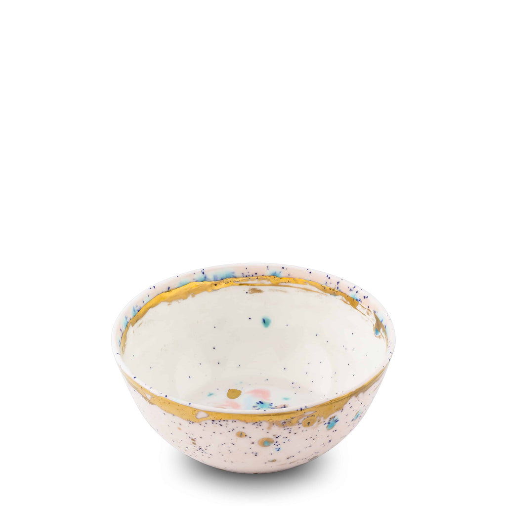 Fruit Bowl Ø13x5H Dafne Gold Bone China - Villa Borghese Series - Coralla Maiuri - Shop Now at Sans Tabù
