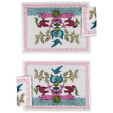 Place Mats set with two Napkins Aristo Pop in Linen - White and Pink - Renaissance Pop - Sans Tabù