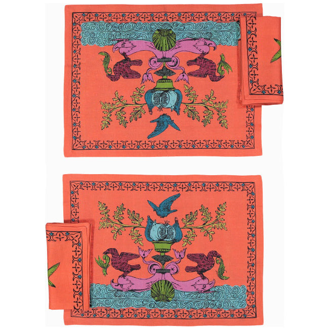 Place Mats set with two Napkins Aristo Pop in Linen - Lobster Orange - Renaissance Pop - Sans Tabù