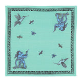 Place Mats set with two Napkins Pop of Arms in Linen - Aqua Green - Renaissance Pop - Sans Tabù