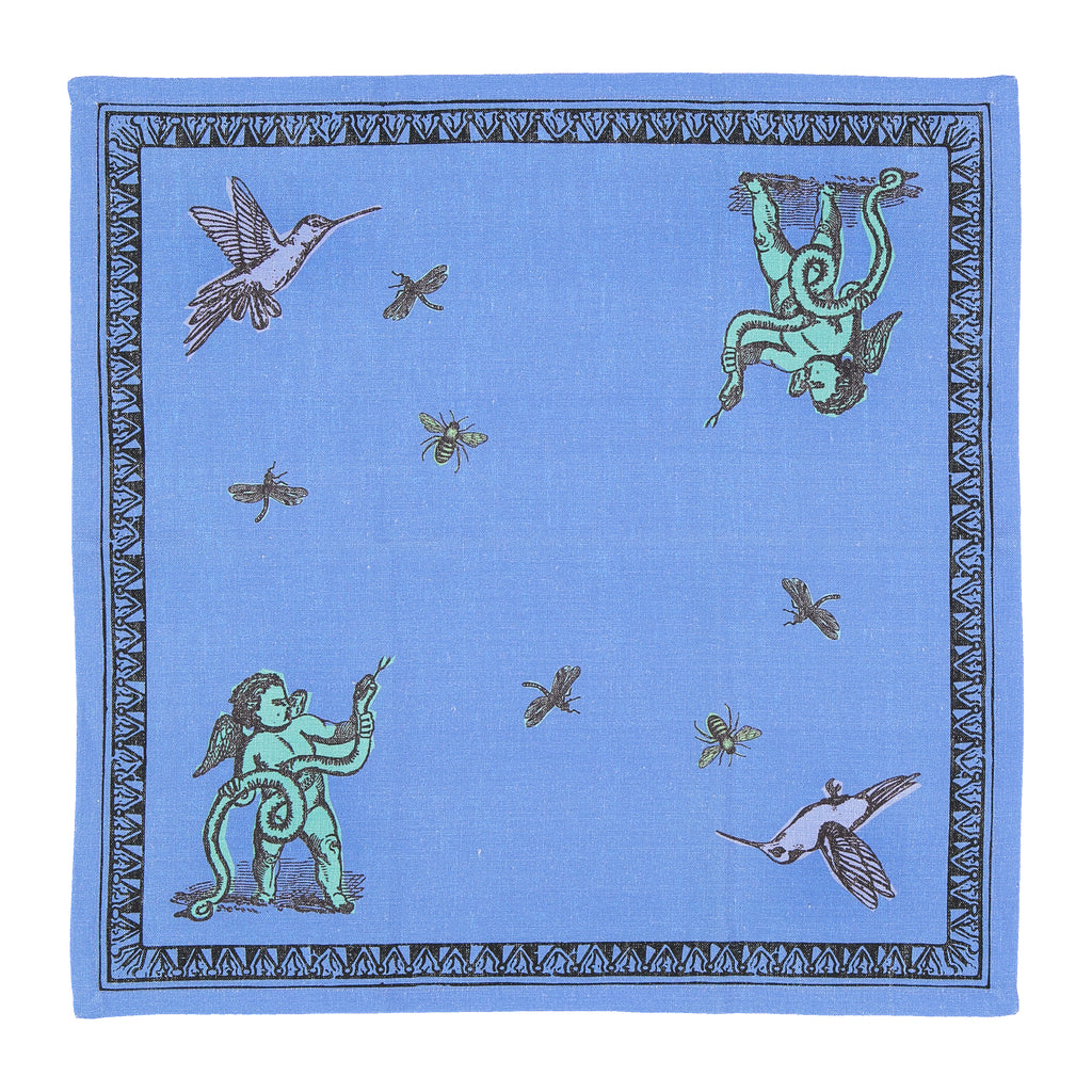 Place Mats set with two Napkins Pop of Arms in Linen - Sky Blue-  Renaissance Pop - Sans Tabù
