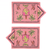 Place Mats set with two Napkins Pop of Arms in Linen - Pink - Renaissance Pop - Sans Tabù